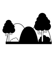 Contour countains with trees and ecology landscape vector