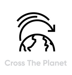 cross planet icon editable line vector image