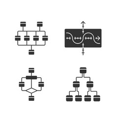 diagrams glyph icons set network tree function vector image