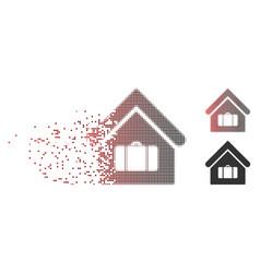 Disintegrating pixel halftone luggage room icon vector