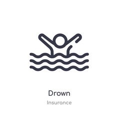 Drown outline icon isolated line from insurance vector