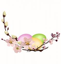 Easter eggs with blossom vector