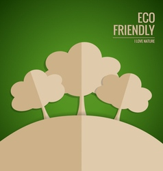 Ecology concept Paper cut of tree on green vector image