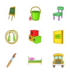 Education of child icons set cartoon style vector