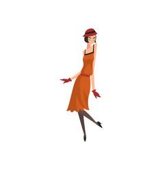 Elegant woman in red retro dress hat stockings vector
