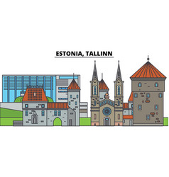 estonia tallinn city skyline architecture vector image
