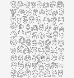 faces of people - thin line icon set vector image