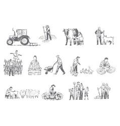 Farming business rural economy concept sketch vector