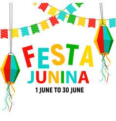 Festa junina background with party flags lantern vector