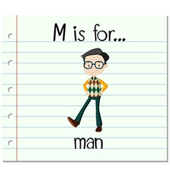 Flashcard letter m is for man vector