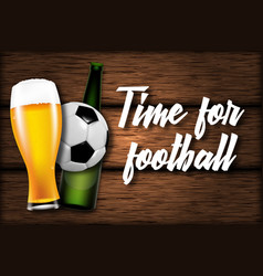 football with beer glass and ball vector image