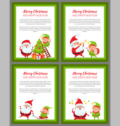 Four merry christmas and happy new year banners vector