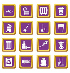 Garbage thing icons set purple vector