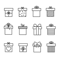 Gift boxes thin line icons vector image