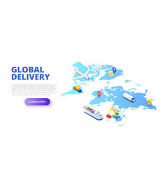 global delivery concept with map plane and tanker vector image