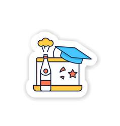 Graduation online party sticker vector