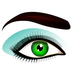 Green left eye with make up vector