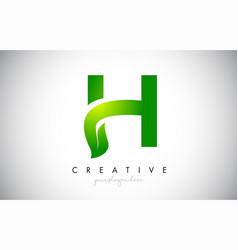 h leaf letter logo icon design in green colors vector image