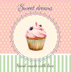 Hand-made desserts flyer template with watercolor vector
