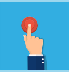 Hand pressing red button vector