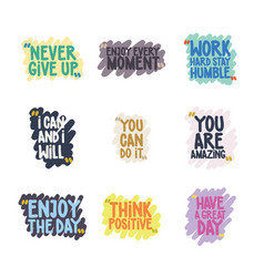 handwritten quote set vector image vector image