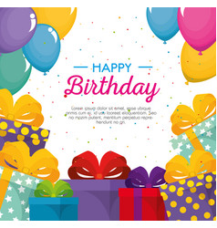 happy birthday celebration card with gifts vector image