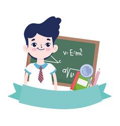 happy teachers day student boy blackboard book vector image
