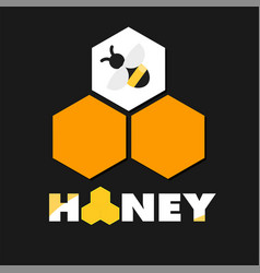 honey bee honeycomb black background image vector image