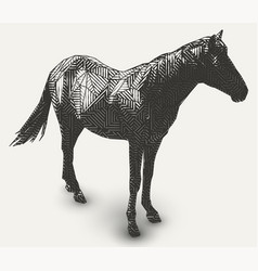 Horse polygon shaped line- art vector