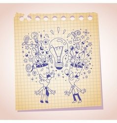 idea concept note paper cartoon sketch vector image