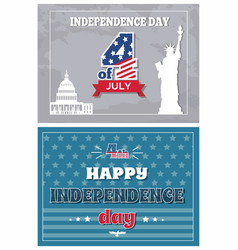 Independence day 4 july posters statue liberty vector