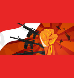 Indonesia retro style war propaganda hand fist vector