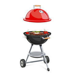 Kettle for barbecue with lid vector