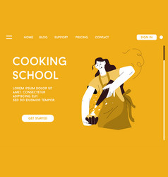 landing page cooking school concept vector image