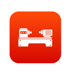 Lathe machine icon digital red vector
