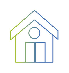 line clean house with roof and door design vector image vector image