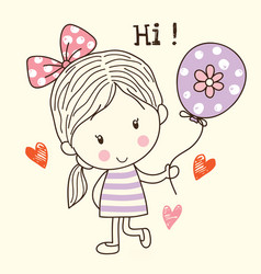 little girl and balloon vector image