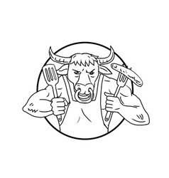 Longhorn bull holding barbecue sausage drawing vector