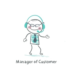 Manager Customer Manager with to headphones vector image