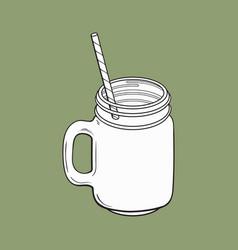 Matcha tea smoothie in glass jar mug vector