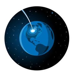 Meteorite impacting earth round icon vector