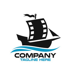 modern sailing ship and film logo vector image
