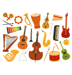 musical instruments music sound instrument harp vector image