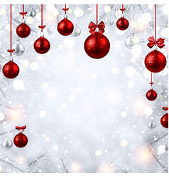 new year card with red christmas balls vector image