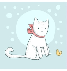 Nice white cat on light blue vector