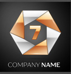 Number seven logo symbol in the colorful hexagon vector