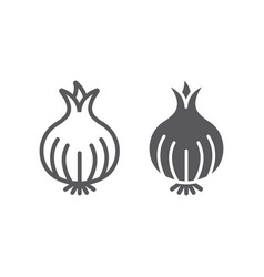Onion line and glyph icon organic and vegetable vector