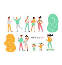 outdoor activities and walks in park flat design vector image