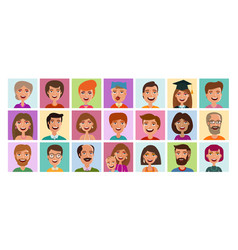 people set icons avatar profile person human vector image