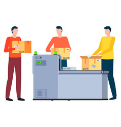People with parcels working in logistics company vector